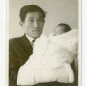 Photograph of Kazuo Mori and his child
