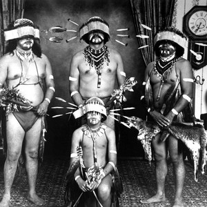 Maidu Dancers (left to right, standing)--Joe Marine, Ken Fred, and Frank LaPena; ...