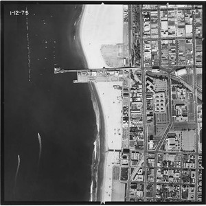 Aerial survey of Santa Monica beaches and coastline north to south from ...