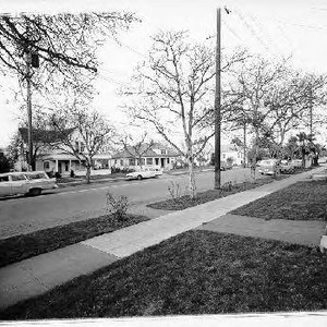 Looking east on Sonoma Ave. from E Street, Santa Rosa, California, 1961