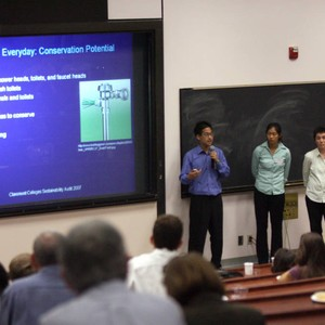 Trevin Murakami, Corina Tom, and Herbie Huff present at Sustainability Presentations Day ...