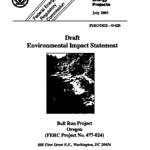 Draft Environmental Impact Statement for Portland General Electric Co's Bull Run Hydroelectric ...
