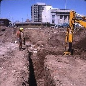 View of the Liberty House Department Store site and the archeological dig ...