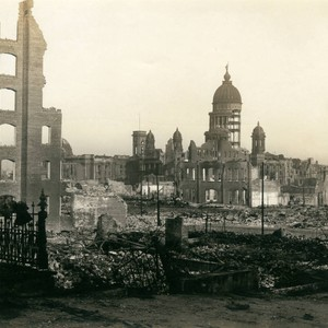 City Hall from Van Ness Avenue, San Francisco Earthquake and Fire, 1906 ...