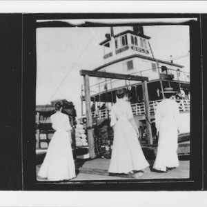 Ladies boarding Steamer Gold at McNear's wharf, Petaluma, California, 1883