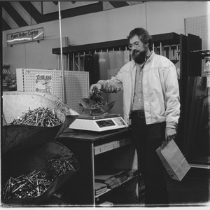 Weighing nails at Yaeger and Kirk, Santa Rosa, California, 1978