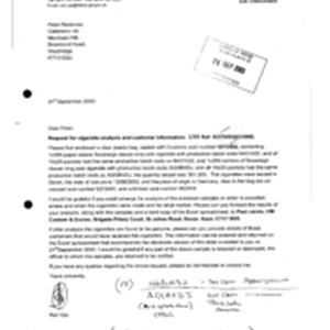 [Letter from Ken Ojo to Peter Redshaw regarding a request for cigarette ...