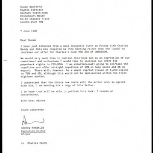 Letter from Andrew Franklin to Susan Wakeford, cc'd Charles Handy