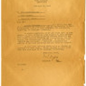 Request from Dillon S. Myer, Director, War Relocation Authority, for Letter of ...