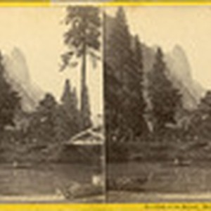 View on the Merced. Hutchings' Hotel and Sentinel Rock, 61