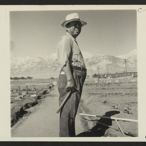 Manzanar, Calif.--This evacuee is foreman of the Hobby Gardens project at this ...