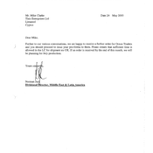 [Letter from Norman Jack to Mike Clarke regarding the receivership of order ...