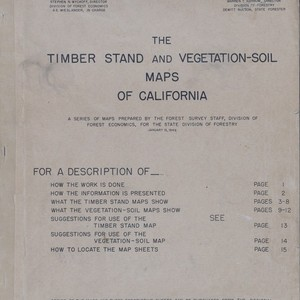 The Timber Stands and Vegetation-Soil Maps of California; A Series of Maps ...