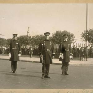 L. to R.: Capt. Fred Lemon - Chief D.J. O'Brien, Capt. H. ...