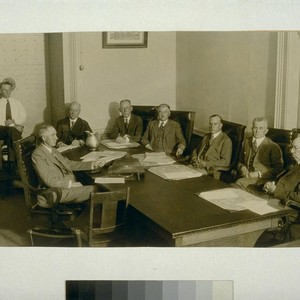 [Pardon hearing for Warren K. Billings. August 15, 1930. Left to right: ...