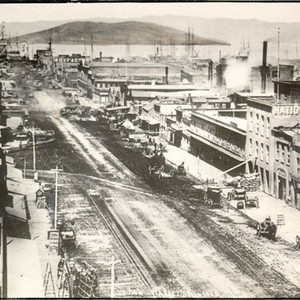 [View east down Market Street in 1865, with Yerba Buena Island in ...