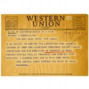 Telegram from Vice Admiral Louis Denfeld to Isidore B. Dockweiler, October 5, ...