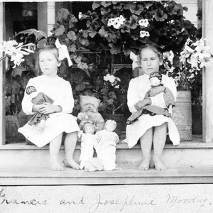 Francis and Josephine Moody sit with their dolls on Mrs. Fairbanks porch ...
