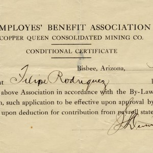 Conditional membership certificate for the Employes' [sic] Benefit Assocation of Copper Queen ...