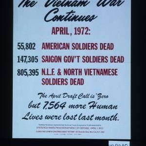 The Vietnam War continues. April: 1972: 55,802 American soldiers dead. 147,305 Saigon ...