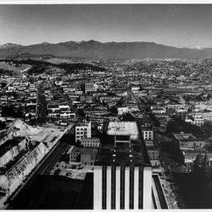Aerial view looking north over the roof of the Federal Building between ...