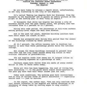 Statement by John Sweeney, Justice for Janitors Press Conference, August 1, 1989