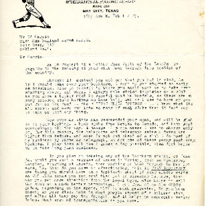 Oakland Larks Baseball Club correspondence from V.R. Klingman