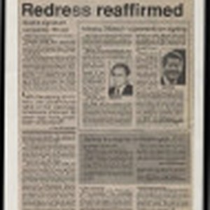 [Newspaper clipping titled:] Redress reaffirmed