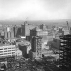 [Cityscape from above circa Kearny and Post Sts. looking northeast toward Wholesale ...