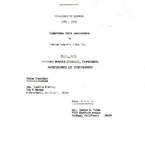 Program Department of History 1969-1970 California State Association of Colored Women's Clubs, ...