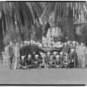 Navy football team at the Vista Del Arroyo Hotel, 125 South Grand, ...