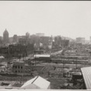 [South of Market district, looking northwest from Rincon Hill. Second St., lower ...
