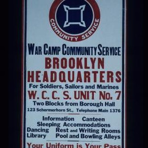 Brooklyn Headquarters ... Unit No. 7 ... information, canteen, sleeping accommodations ...