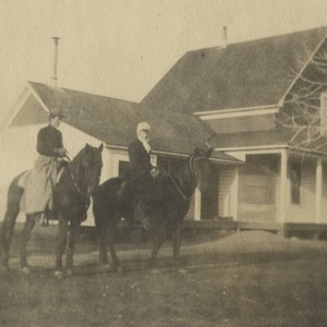 Two women on horseback by Coon Home