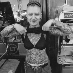Woman with tattoos, Sunset Boulevard, Silver Lake