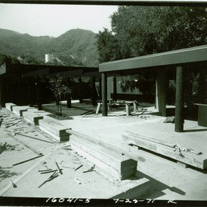 View of construction of the nature center at Placerita Canyon