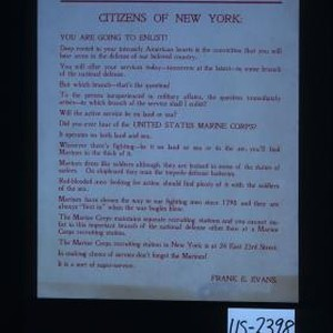 Proclamation! Citizens of New York: You are going to enlist! Deep rooted ...