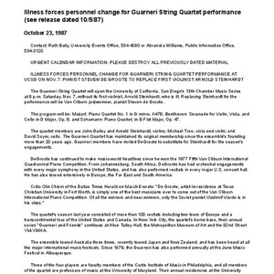 Illness forces personnel change for Guarneri String Quartet performance (see release dated ...