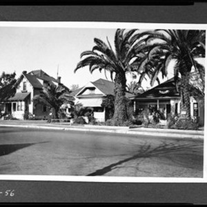 Exterior view of three houses on Adams Boulevard between Naomi Avenue and ...