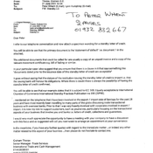 [Letter from Thorpe, Graham GE to Peter Whent and Lynn Humphrey regarding ...