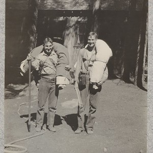 Camp Califorest. Wohletz and Dennison return from side camp. E. Fritz, August ...