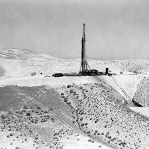 Oil derrick on a mountain