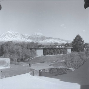 West Hall and mountains, Harvey Mudd College