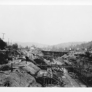 Arroyo Seco from old railroad trestle north of Avenue 26, looking north ...