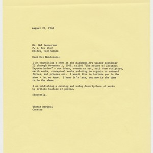 Letter to Mel Henderson from Tom Marioni (The Return of Abstract Expressionism)