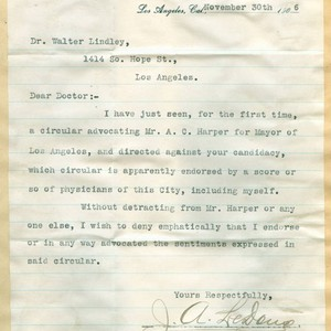 Letter from J. A. Le Doux to Walter Lindley