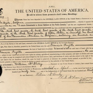 Homestead Land Grant Certificate of Francisco Trujillo for land in Topanga Canyon, ...