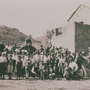 Cast and crew on a movie set in Las Pulgas Canyon, Calif