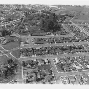 Aerial view of the Town and Country Shopping Center, Santa Rosa, California, ...