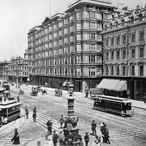 [Market Street at intersection of Kearny and Geary streets, with Lotta's Fountain ...